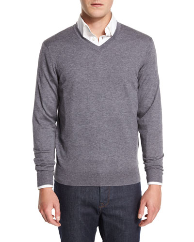 Cashmere-Silk V-Neck Sweater, Derby Gray