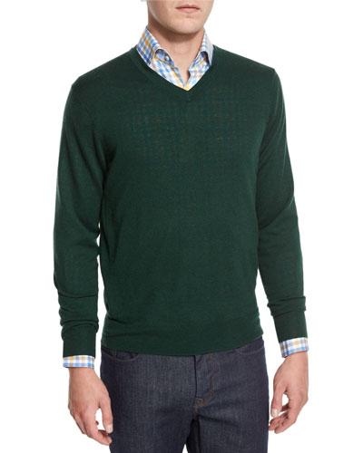 Cashmere-Silk V-Neck Sweater, Forest