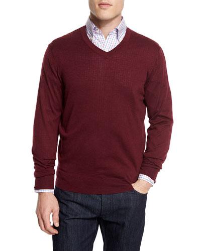 Cashmere-Silk V-Neck Sweater, Wine