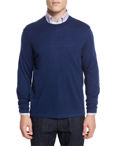 Cashmere-Silk Crewneck Sweater, Navy