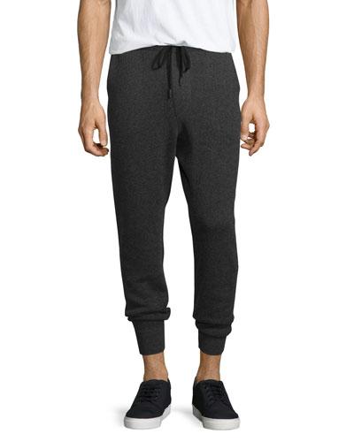 Cotton-Cashmere Jogger Pants, Gray