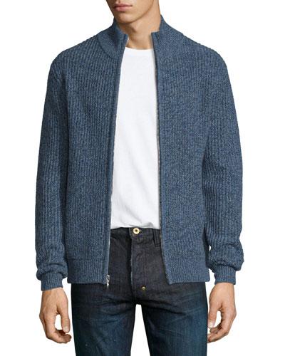 Marled Cashmere Full-Zip Bomber Cardigan