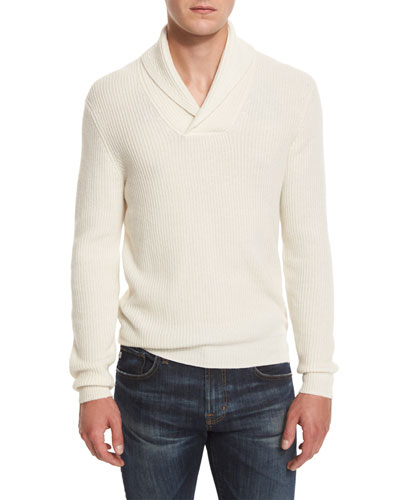 Shawl-Collar Ribbed Pullover Sweater, Vanilla