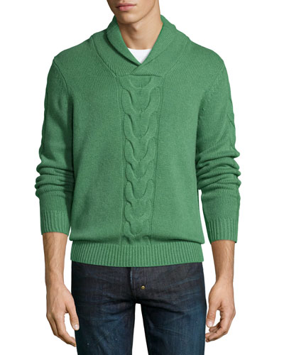 Cashmere Shawl-Collar Cable-Knit Pullover, Grass