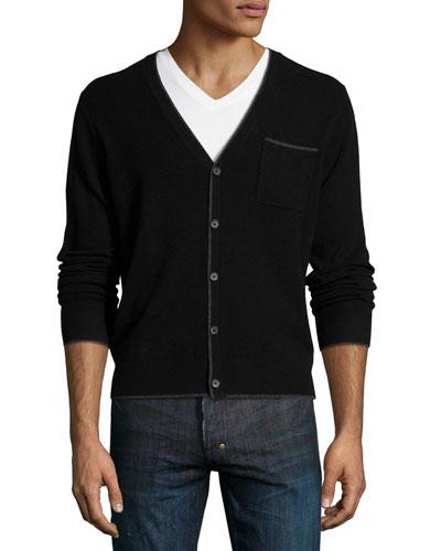 Cashmere Contrast-Tip Modern Cardigan, Black/Derby Gray