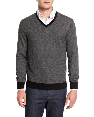 Cashmere-Cotton Contrast-Trim V-Neck Sweater, Black/Ash