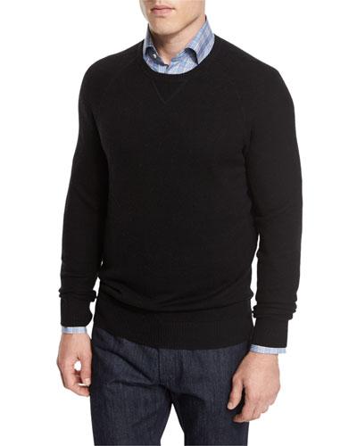 Mixed-Textured Crewneck Sweater, Black