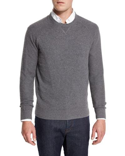 Mixed-Textured Crewneck Sweater, Granite
