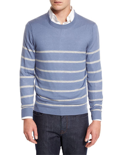 Cashmere-Cotton Striped Crewneck Sweater, Denim/Ash