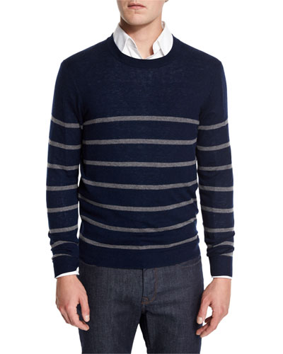 Cashmere-Cotton Striped Crewneck Sweater, Navy/Granite