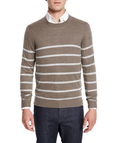 Cashmere-Cotton Striped Crewneck Sweater, Smoke/Ash