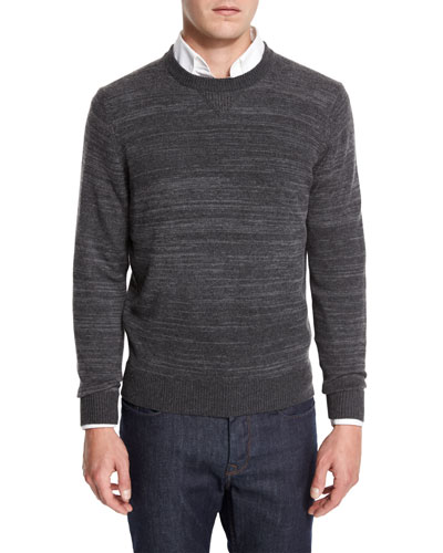 Cashmere-Cotton Athletic Crewneck Sweater, Derby Gray/Gray