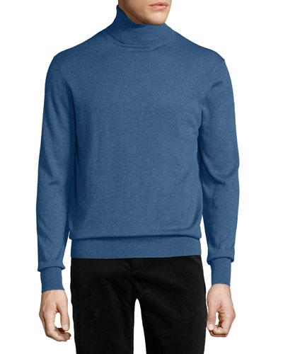 Cashmere-Silk Turtleneck Sweater, True Blue