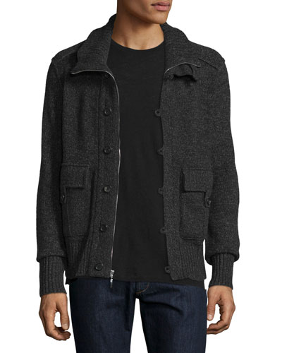 Cashmere Button-Zip Cardigan Jacket, Derby Gray/Black