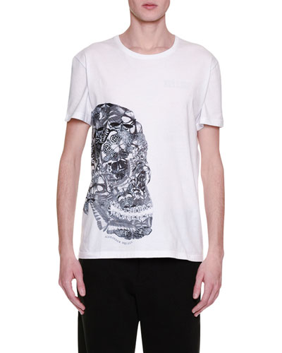 Butterfly-Skull Graphic T-Shirt, White