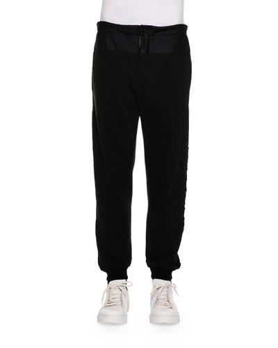 Knit Jogger Pants w/Velvet Stripes, Black