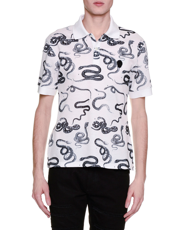 Snake-Print Polo Shirt, White/Black