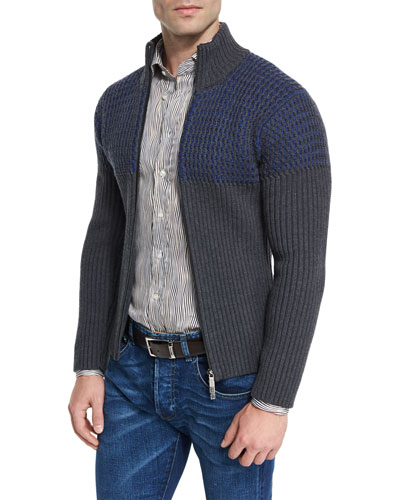 Colorblock Ribbed Full-Zip Cardigan
