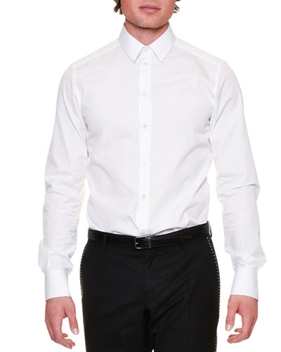 Long-Sleeve Woven Dress Shirt, White