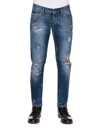 Distressed Dirty-Wash Denim Jeans, Blue