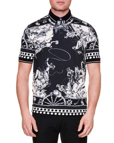 Western-Print Pique Polo Shirt, Black/White