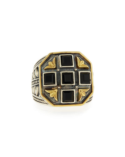 Black Onyx Square Ring, Size 11