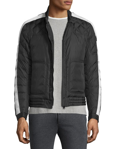 Goya Quilted-Sleeve Biker Jacket, Black/White