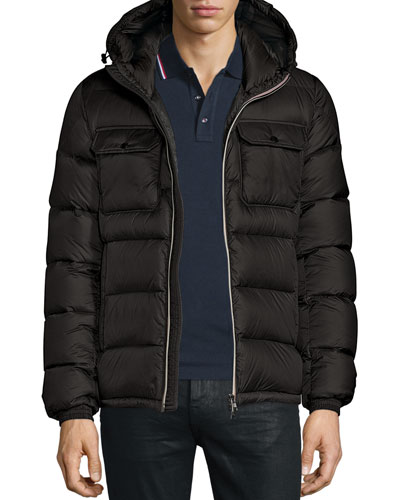 Morane Logo-Stripe Down Jacket, Black