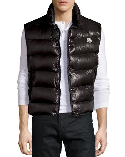 Tib Shiny Puffer Vest, Black