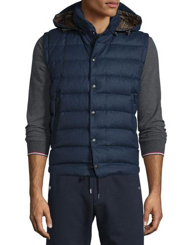 Jean Christophe Wool Down Vest w/Detachable Hood, Navy