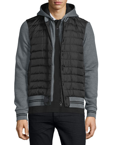 Puffer-Front Knit Hoodie, Gray