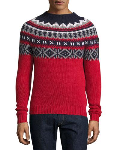 Fair Isle Crewneck Sweater, Red/Multi