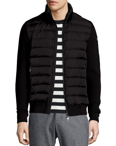 Zip-Up Sweater with Puffer-Front, Black