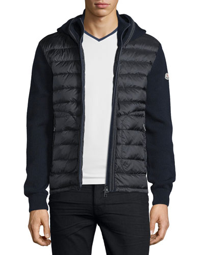 Puffer-Panel Front-Zip Sweater, Navy