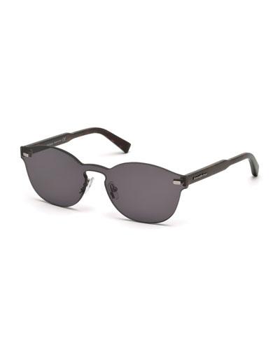 Rimless Dark Havana Round Sunglasses, Gray/Brown
