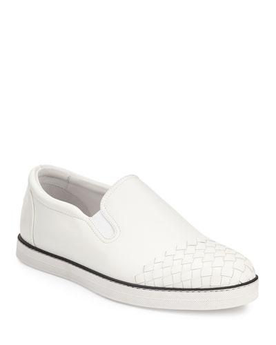Woven-Toe Leather Skate Shoe, White