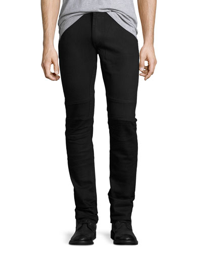 Seamed Motorcycle Skinny Jeans, Blue-Black