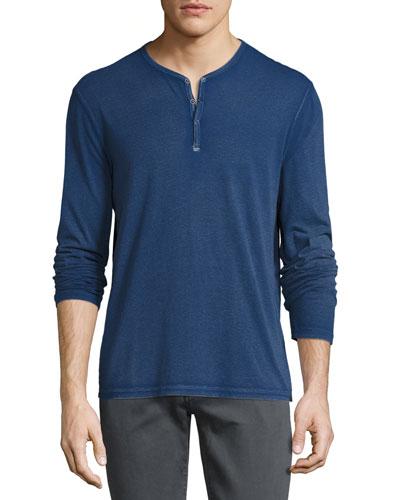 Long-Sleeve Henley T-Shirt, Blue