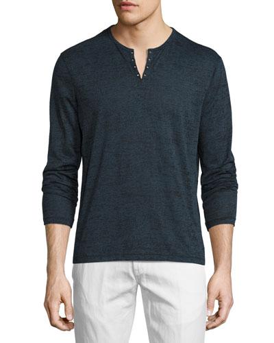 Eyelet Burnout Henley T-Shirt, Blue Heather