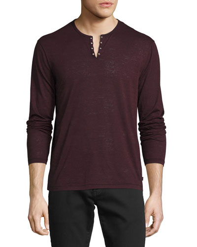 Eyelet Burnout Henley T-Shirt, Oxblood