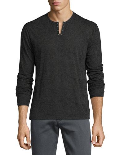 Eyelet Burnout Henley T-Shirt, Charcoal Heather