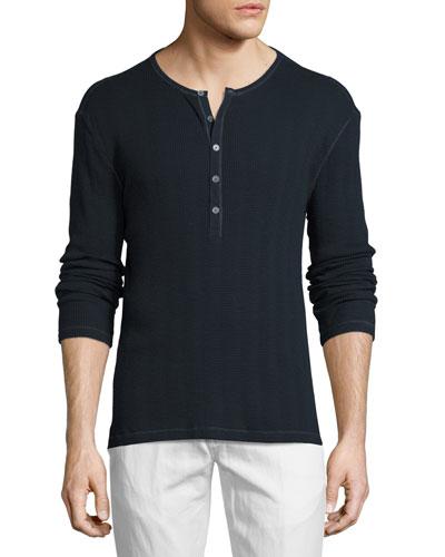 Thermal Henley T-Shirt, Marine