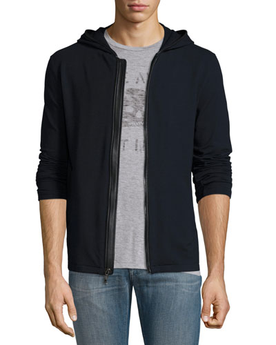 Leather-Trim Front-Zip Hoodie