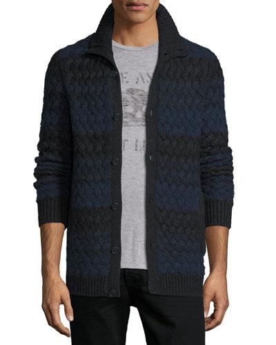 Basketweave-Knit Striped Cardigan