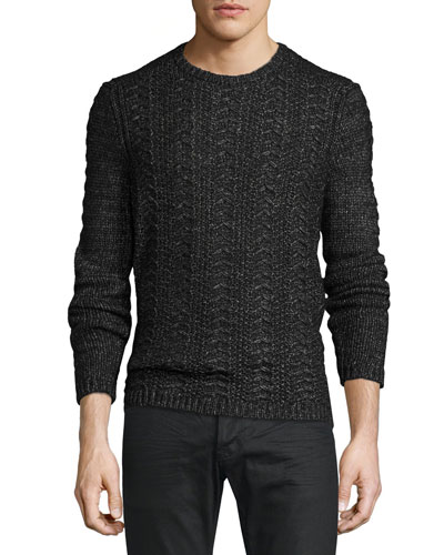 Cable-Knit Crewneck Sweater, Black