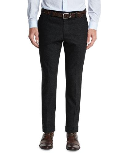 Flat-Front Slim-Fit Pants, Charcoal Melange