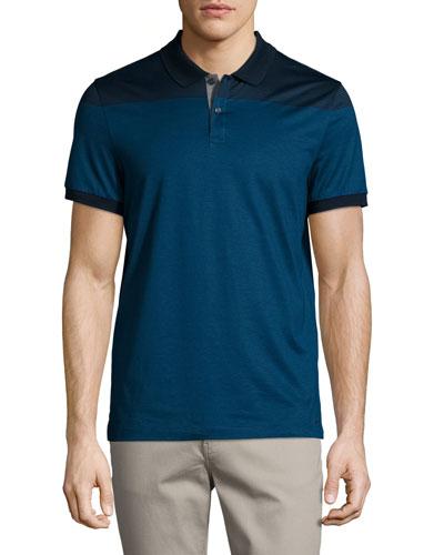 Mercerized Cotton English-Stripe Short-Sleeve Polo Shirt, Midnight