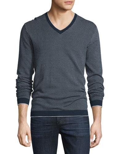 Cotton Dot-Pattern V-Neck Sweater, Midnight