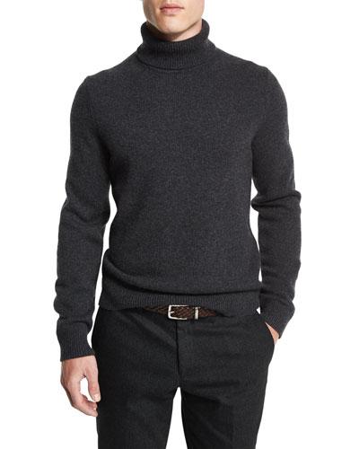 Cashmere Turtleneck Long-Sleeve Sweater, Charcoal Melange