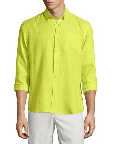 Caroubier Linen Long-Sleeve Shirt, Green